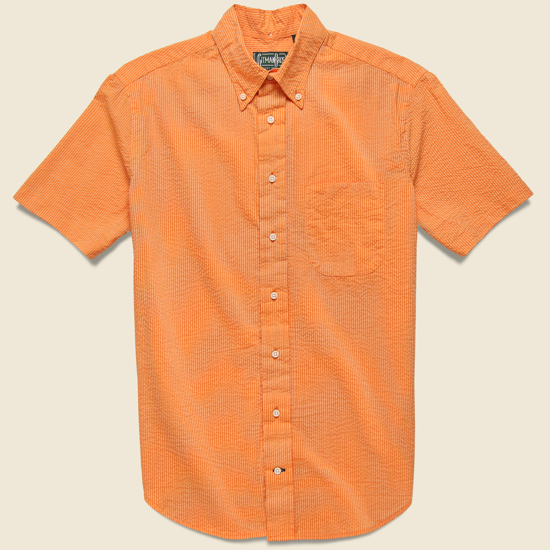 Gitman Vintage Neon Stripe Seersucker Oxford Shirt - Orange