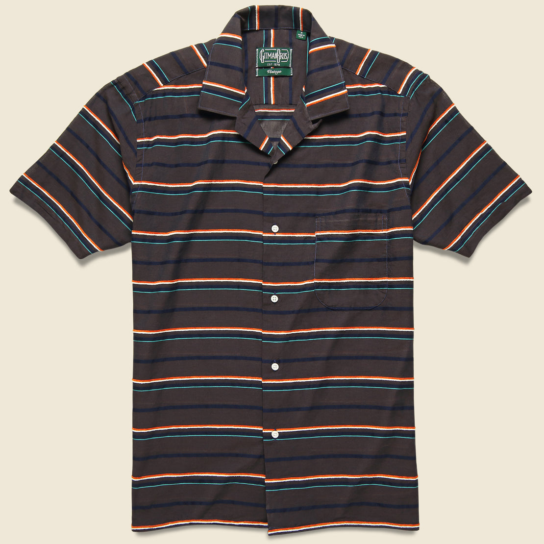 Gitman Vintage Terry-Cloth Border Barre Camp Shirt - Brown