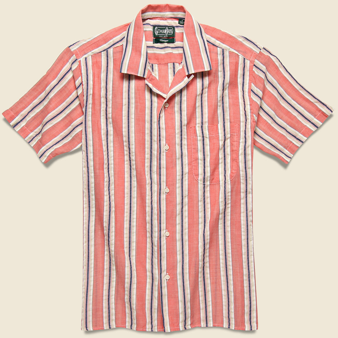 Gitman Vintage Awning Stripe Camp Shirt - Pink