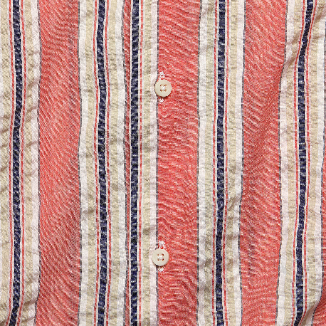 Awning Stripe Camp Shirt - Pink
