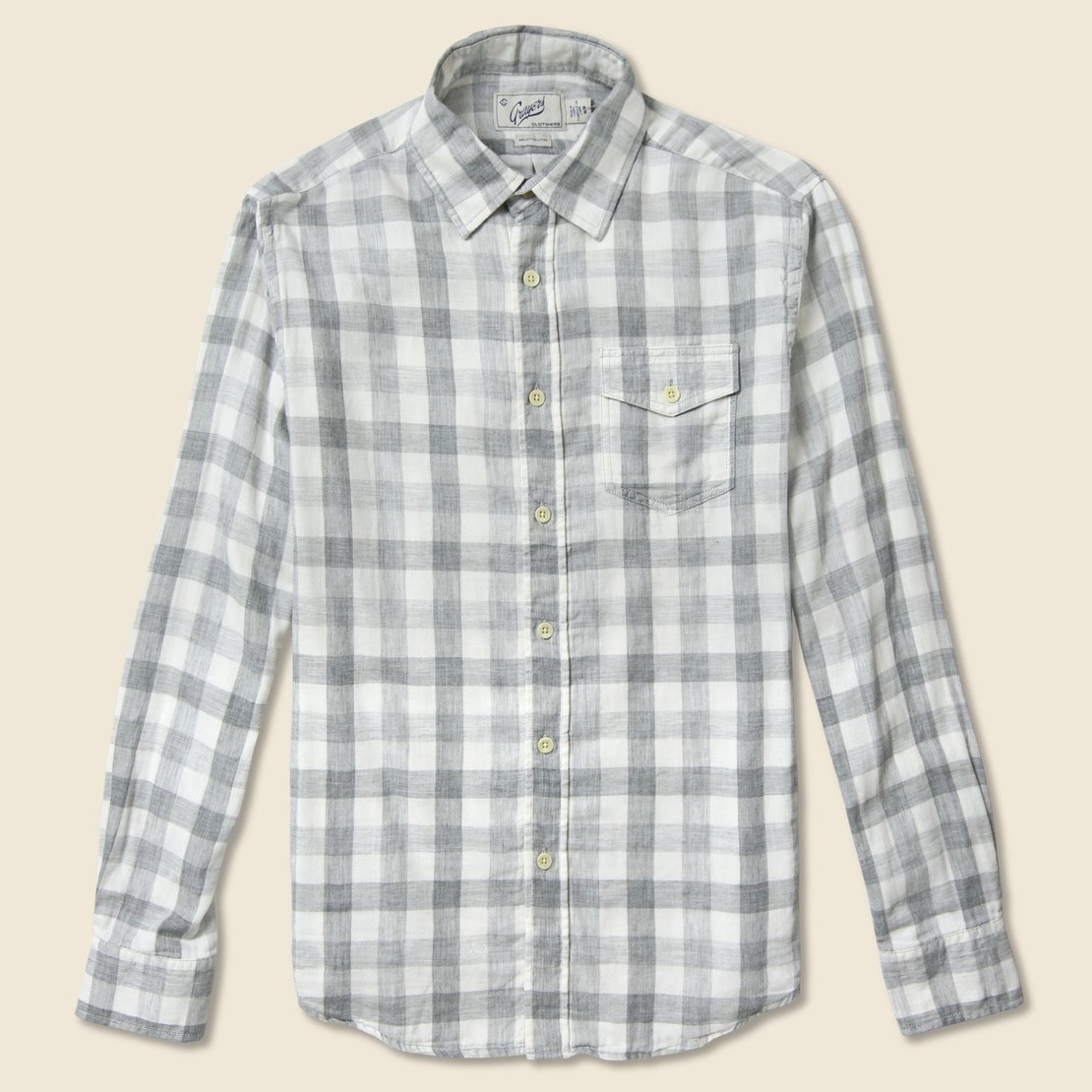 Grayers Durham Gingham Double Cloth Shirt - Heather Grey