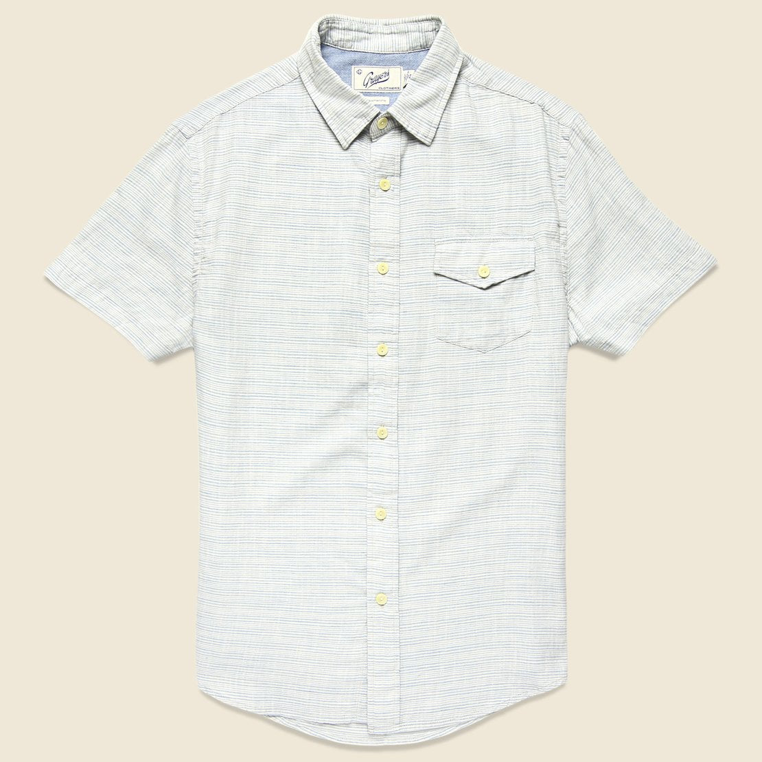 Grayers Horizon Summer Twill Shirt - Blue Cream Stripe