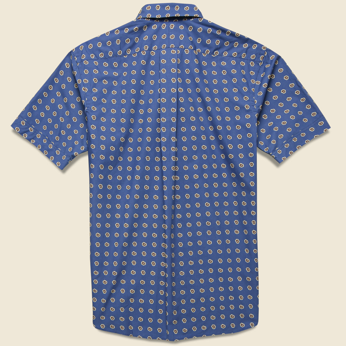 Poplin Paisley Print Shirt - Dusty Blue/Brown