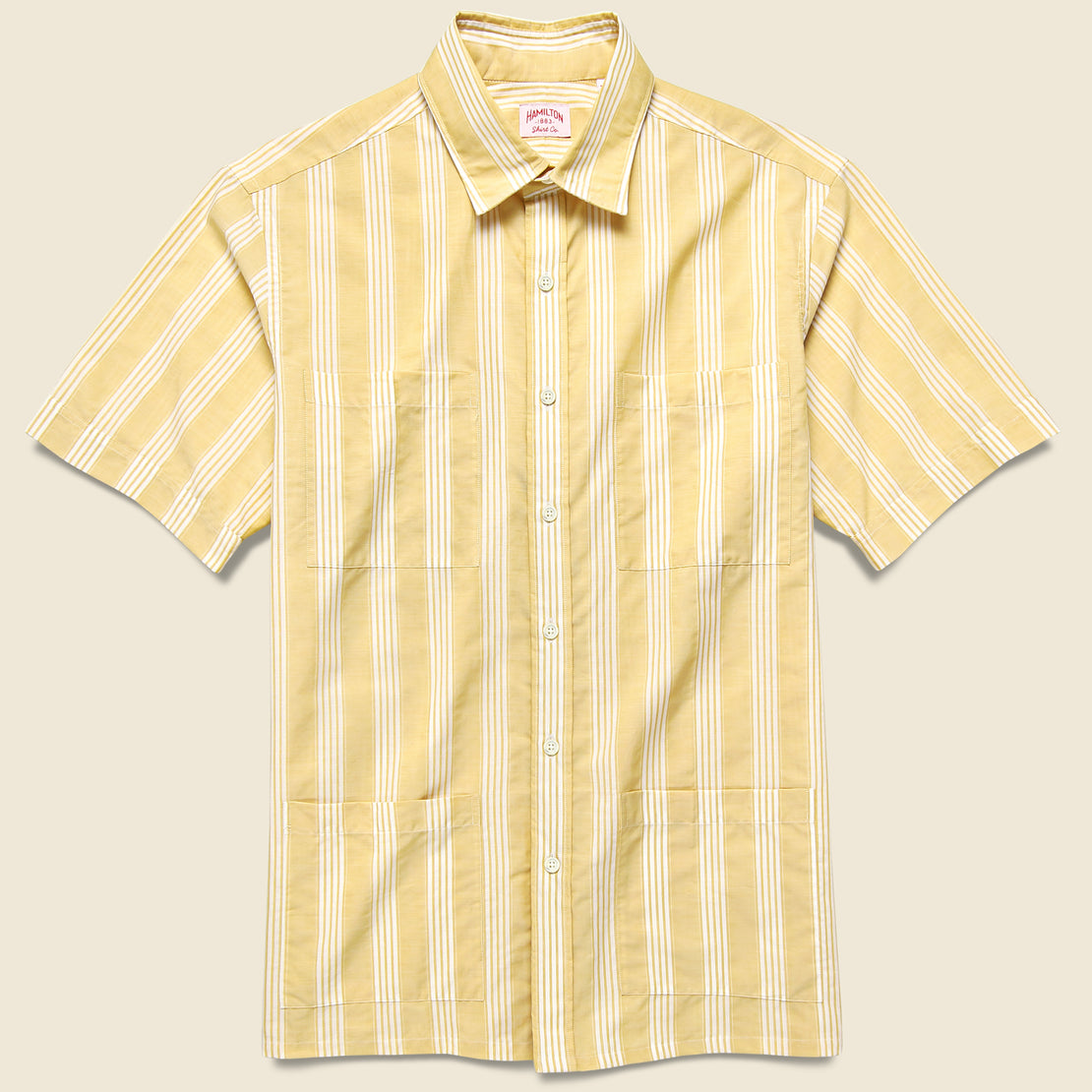 Hamilton Shirt Co. Textured Stripe Guayabera Shirt - Dusty Marigold/White