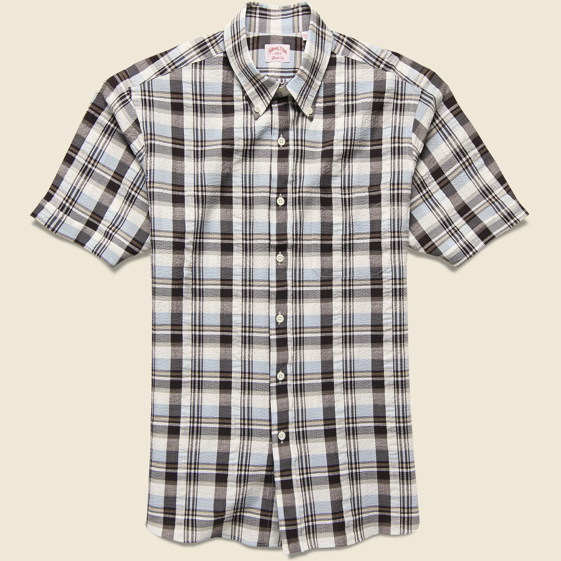Hamilton Shirt Co. Plaid Seersucker Shirt - Brown/Grey