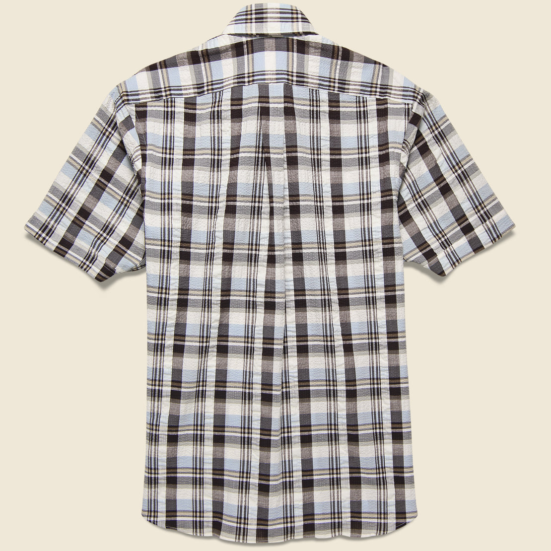 Plaid Seersucker Shirt - Brown/Grey
