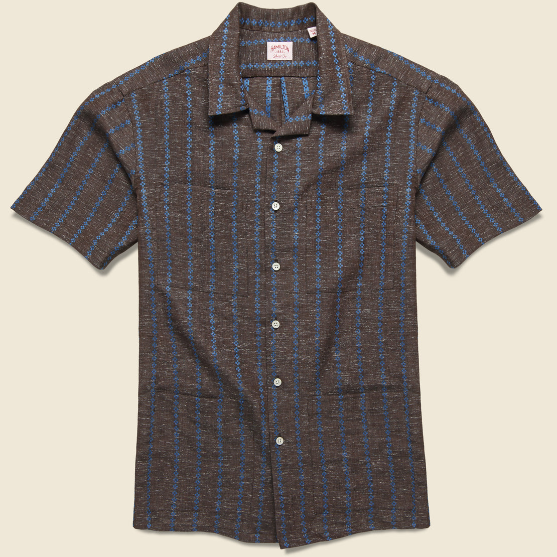 Hamilton Shirt Co. Embroidered Stripe Guayabera Shirt - Brown/Blue