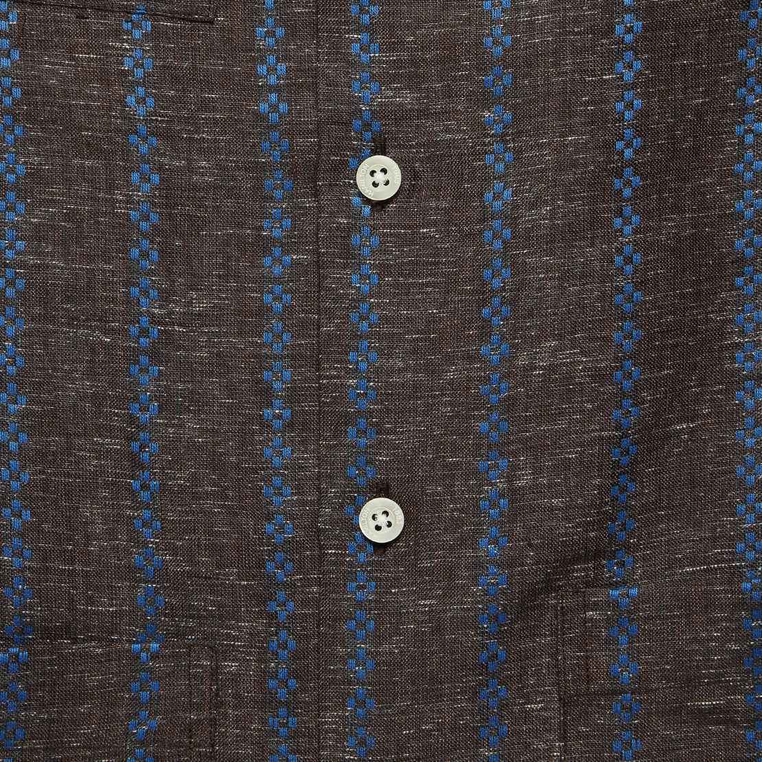 Embroidered Stripe Guayabera Shirt - Brown/Blue