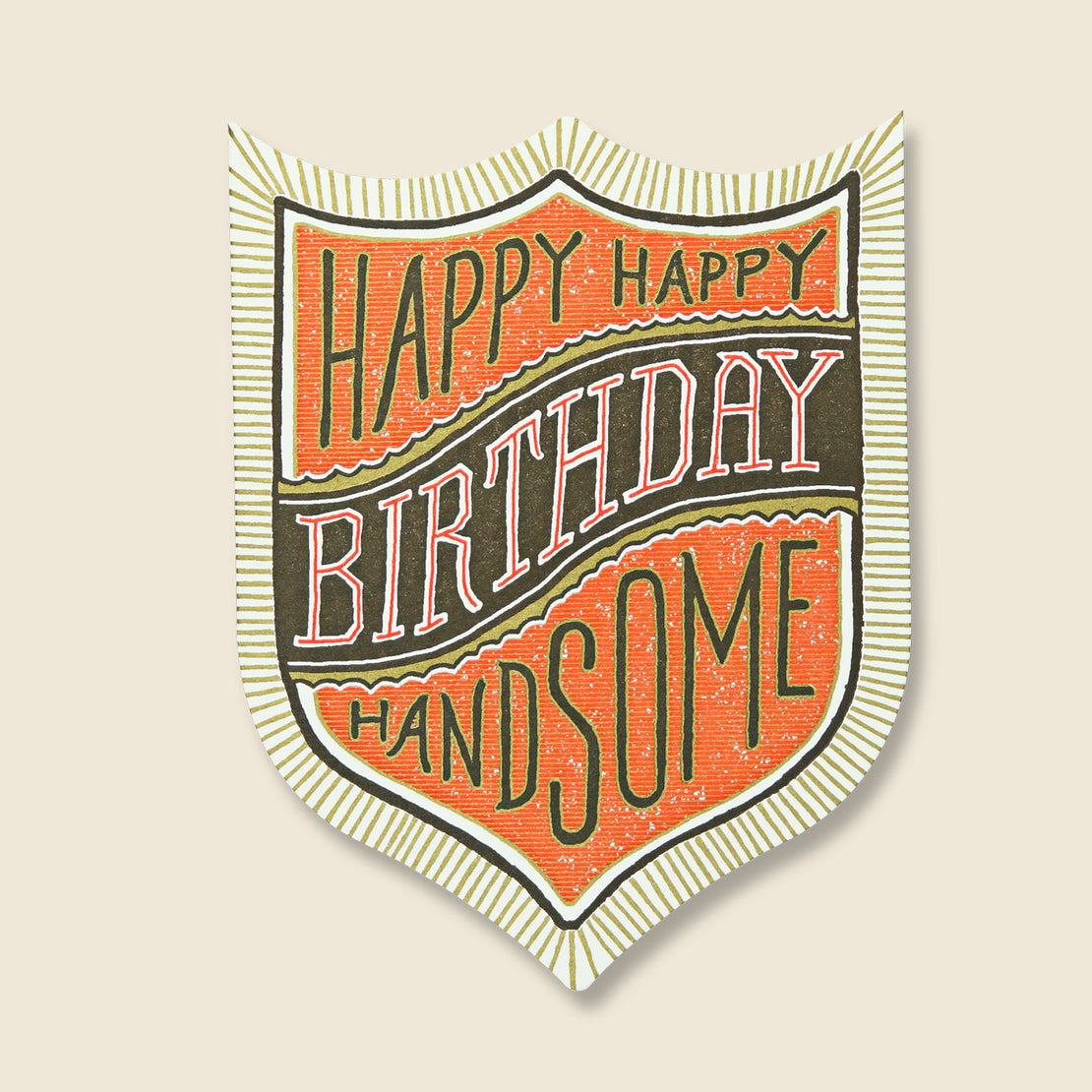 Paper Goods Happy Birthday Handsome Badge Card