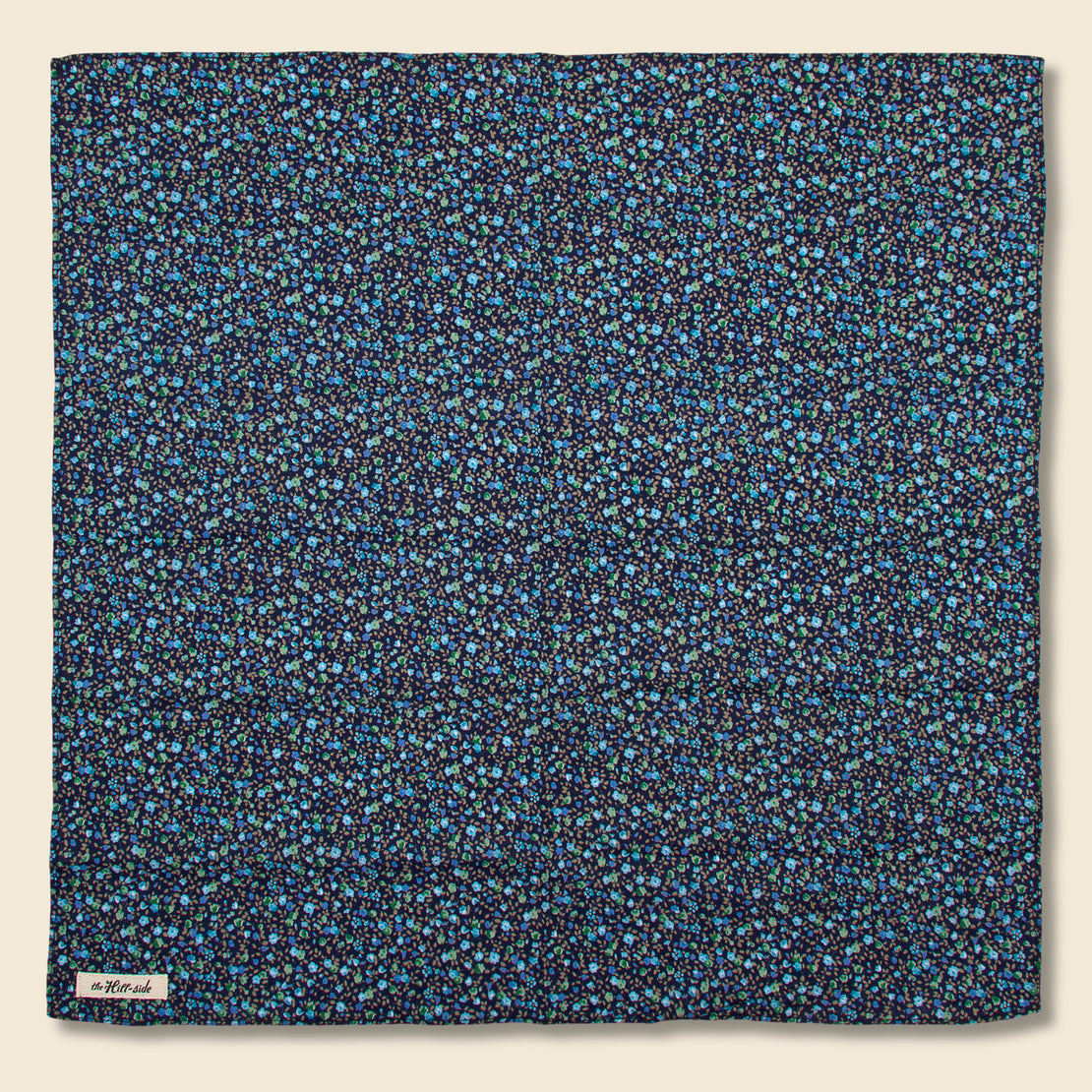 The Hill-Side Floral Print Bandana - Navy