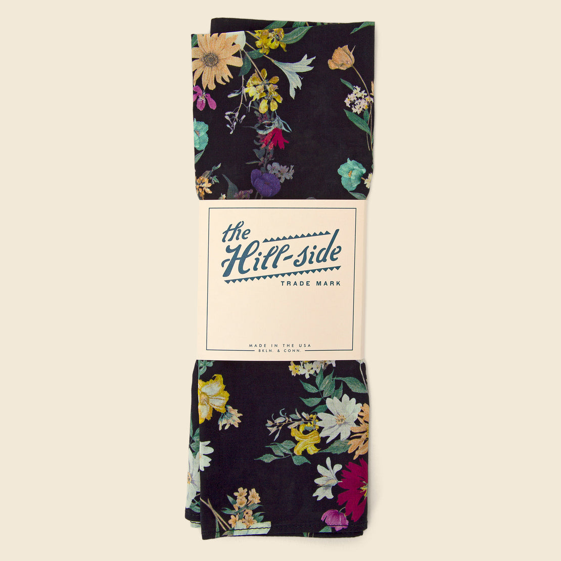 Bouquet Print Bandana - Black