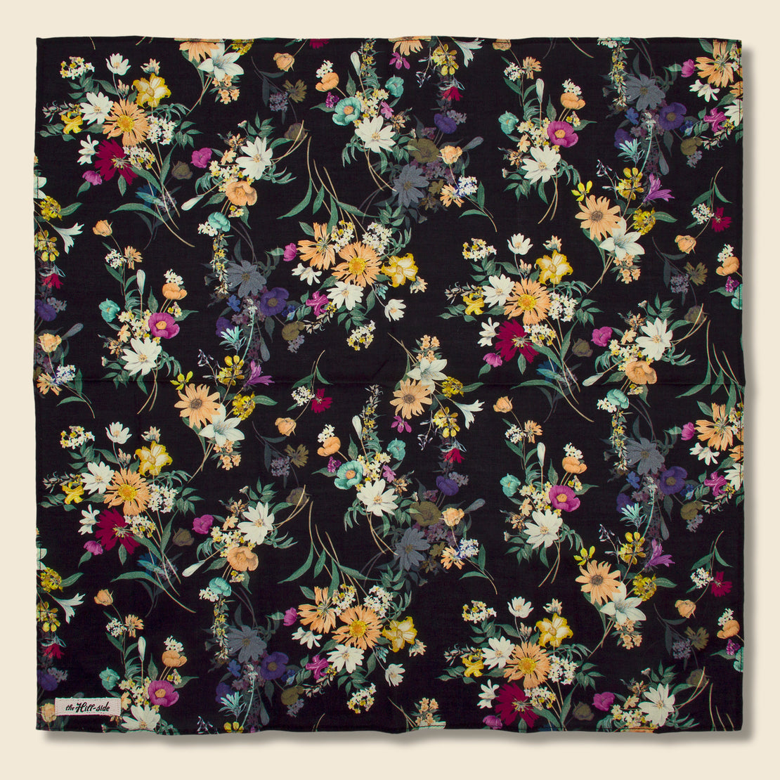 The Hill-Side Bouquet Print Bandana - Black
