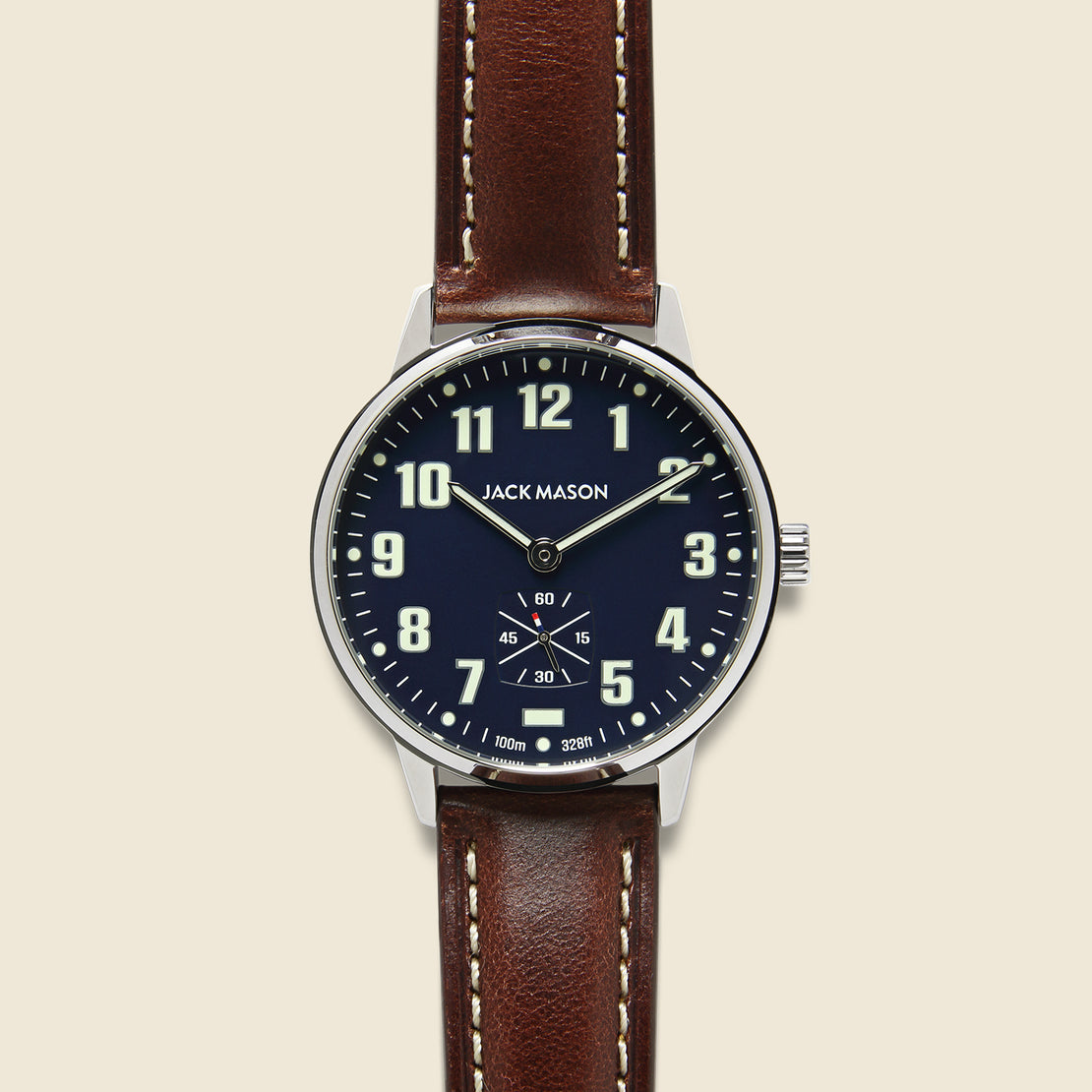 Jack Mason Field Camp Watch 38mm - Navy/Brown Leather
