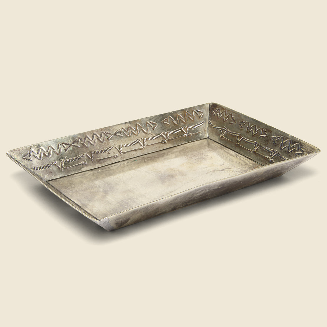 Small Stamped Tray - Silver