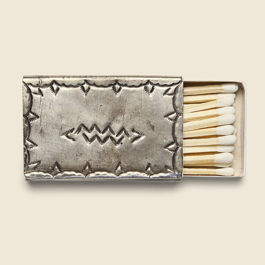 J Alexander Small Stamped Matchbox Cover - Silver