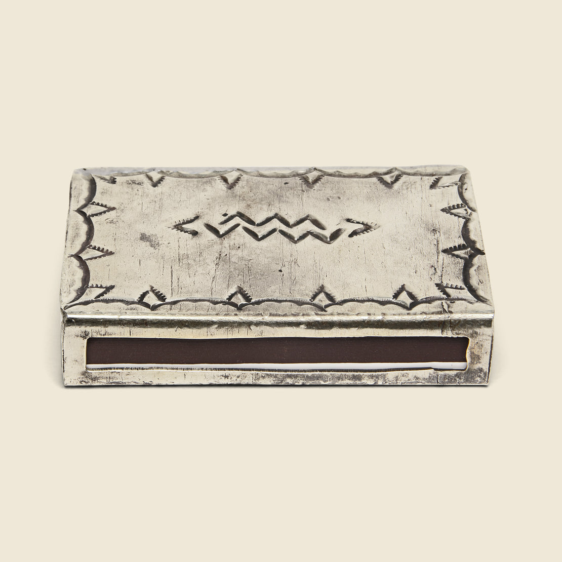 Small Stamped Matchbox Cover - Silver