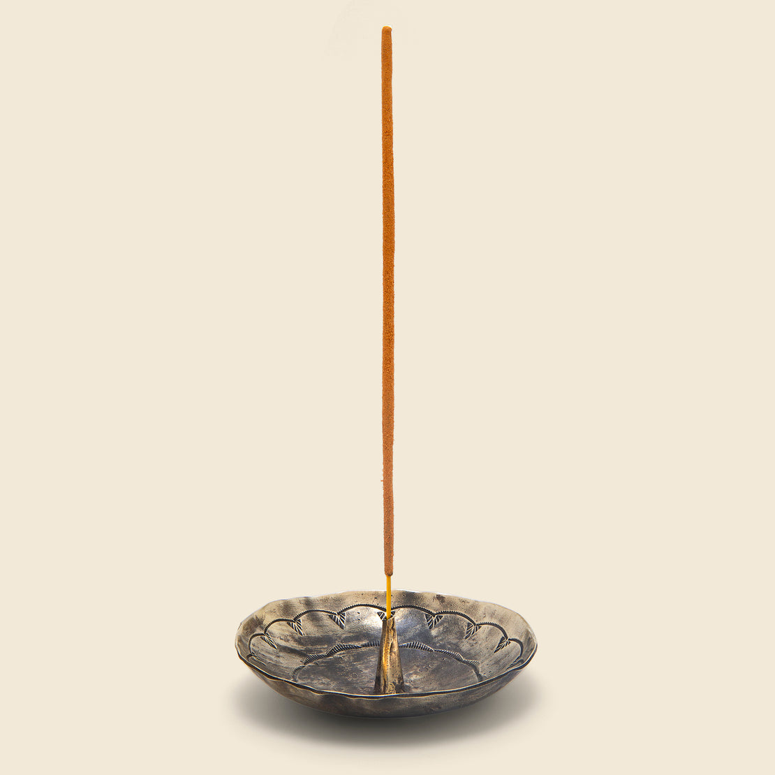J Alexander Round Stamped Incense Holder - Silver