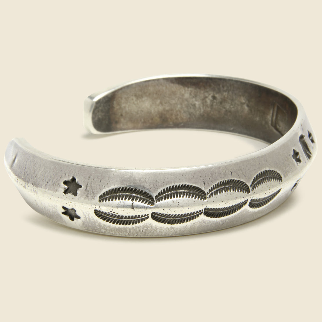Large Carney Stamped Coin Silver Cuff - Thunderbird/Stars