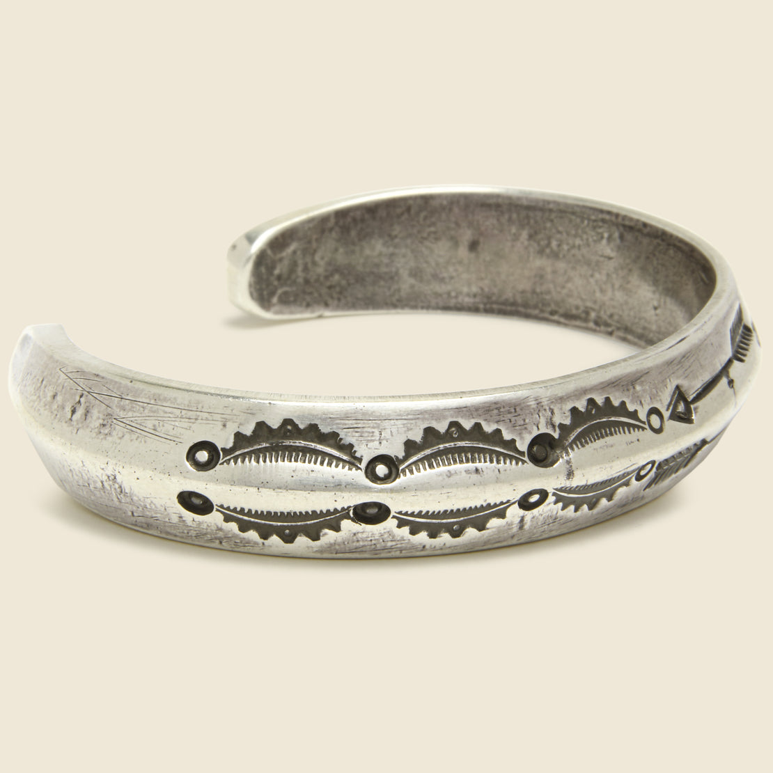 Large Carney Stamped Coin Silver Cuff - Double Arrows
