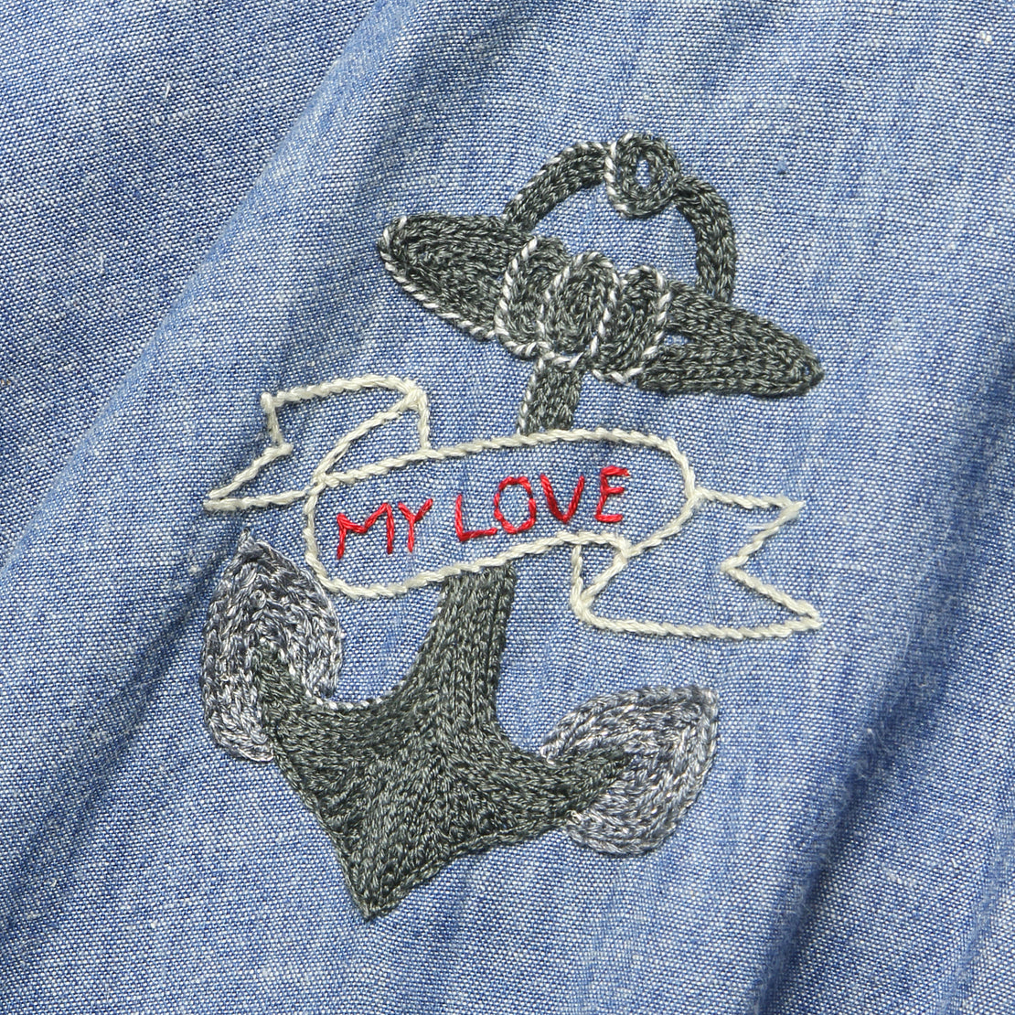 Embroidered Chambray Shirt - Lost at Sea