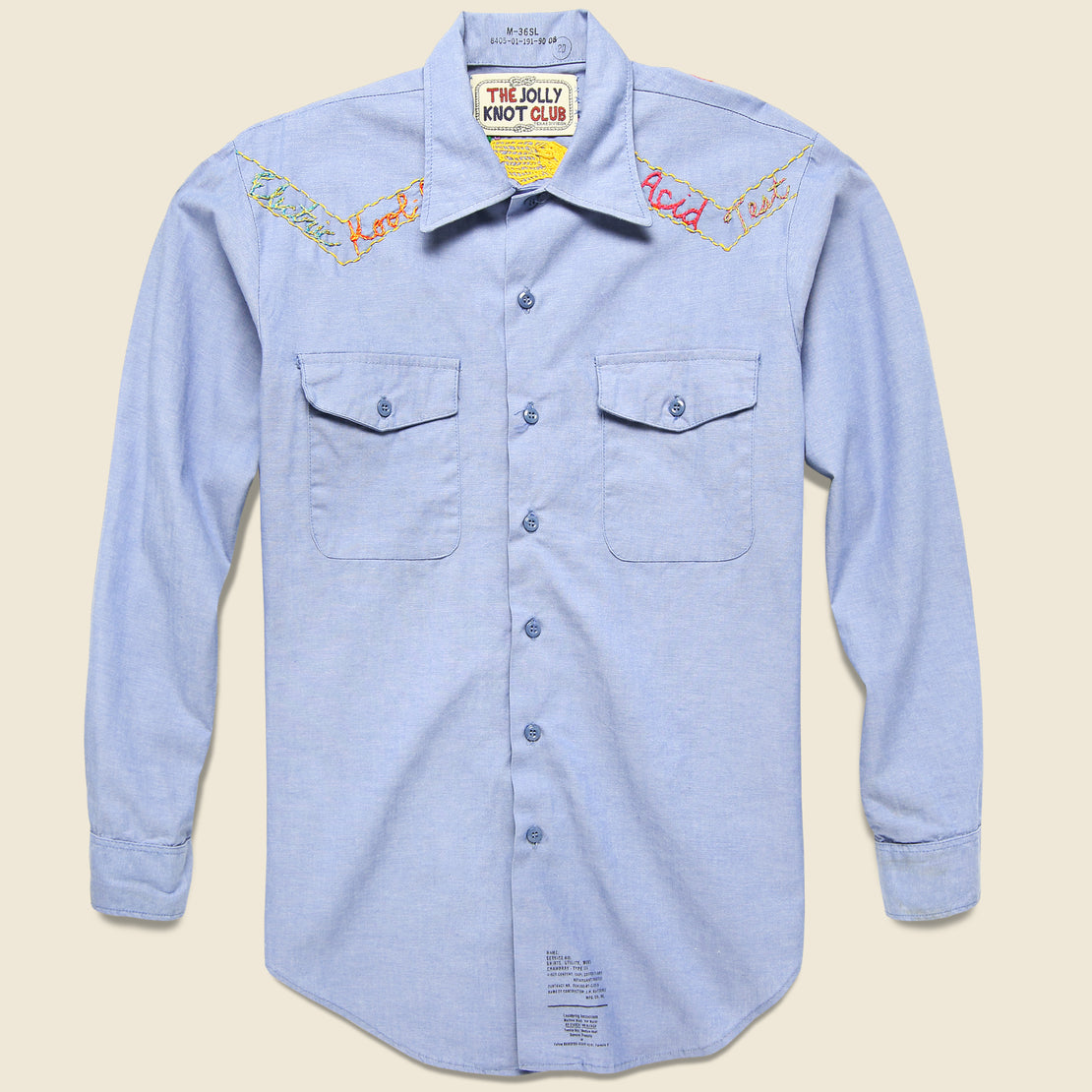 Embroidered Chambray Shirt - Electric Kool-Aid Acid Test
