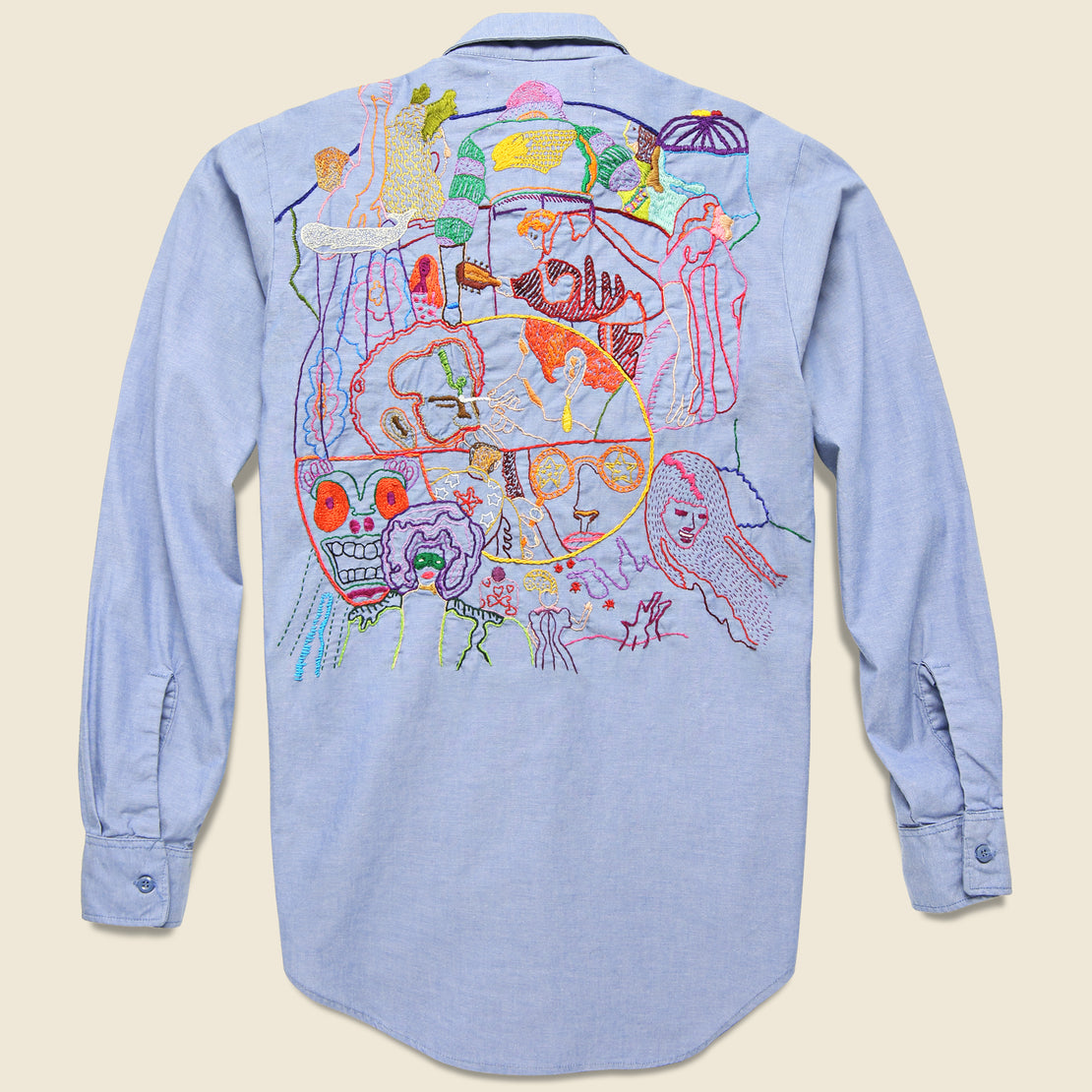 Jolly Knot Club Embroidered Chambray Shirt - Electric Kool-Aid Acid Test