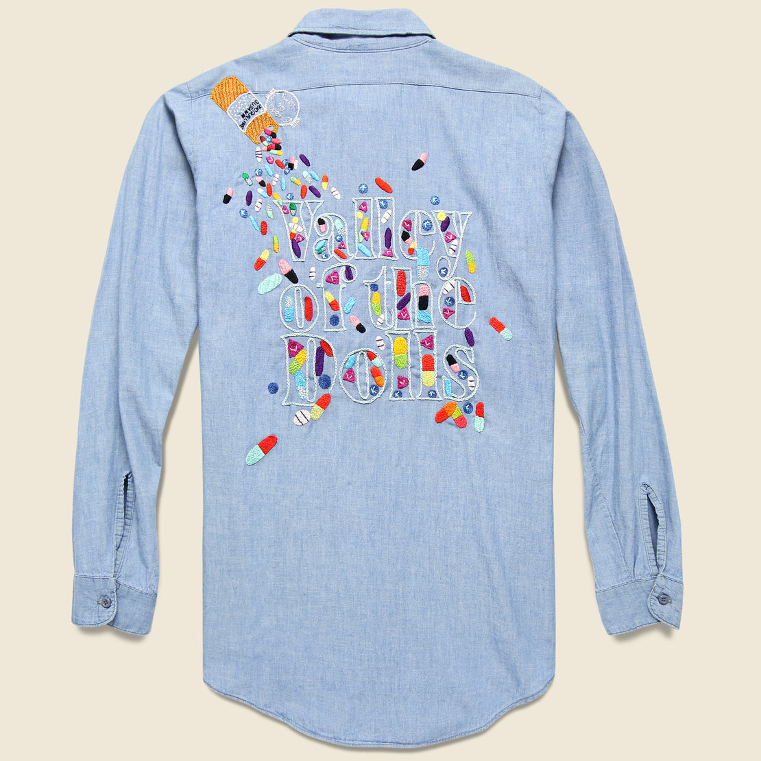 Jolly Knot Club Embroidered Chambray Shirt - Valley of the Dolls