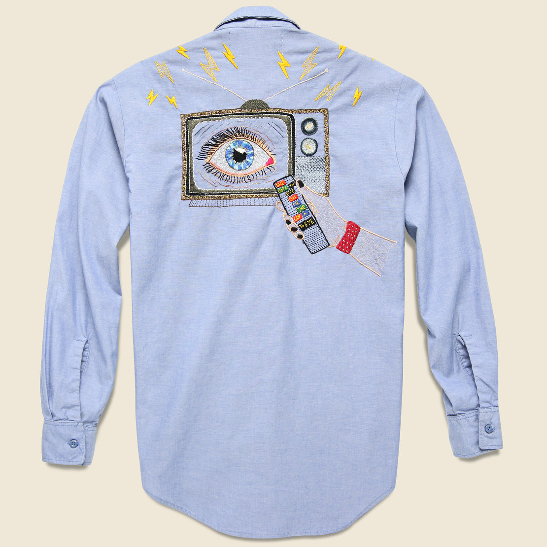 Jolly Knot Club Embroidered Chambray Shirt - She Got a TV Eye on Me