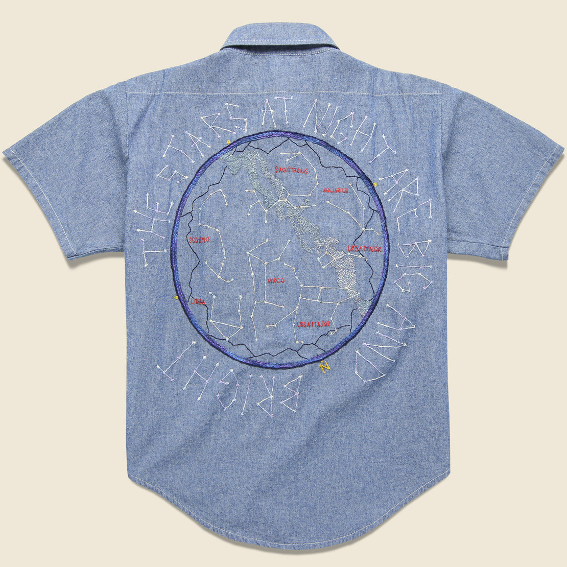 Jolly Knot Club Embroidered Chambray Shirt - The Stars at Night