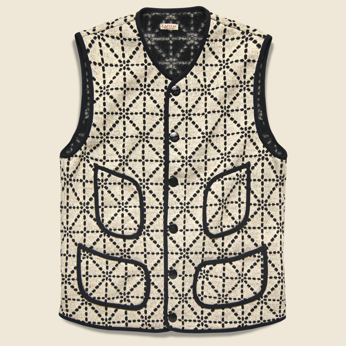 Kapital Do-Gi Sashiko Fleecy Knit Beach Vest - Black/White