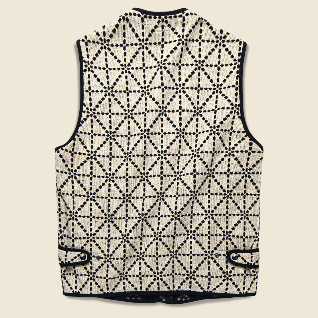 Do-Gi Sashiko Fleecy Knit Beach Vest - Black/White