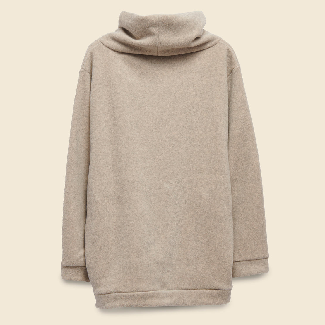 Reverse Fleece Big High Neck Sweatshirt - Ecru
