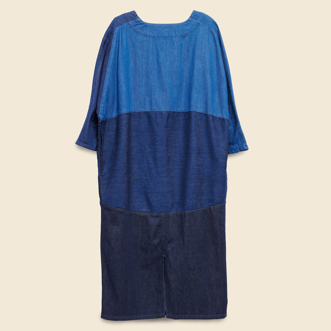 3Tones Denim Gimmick Art Dress - Indigo