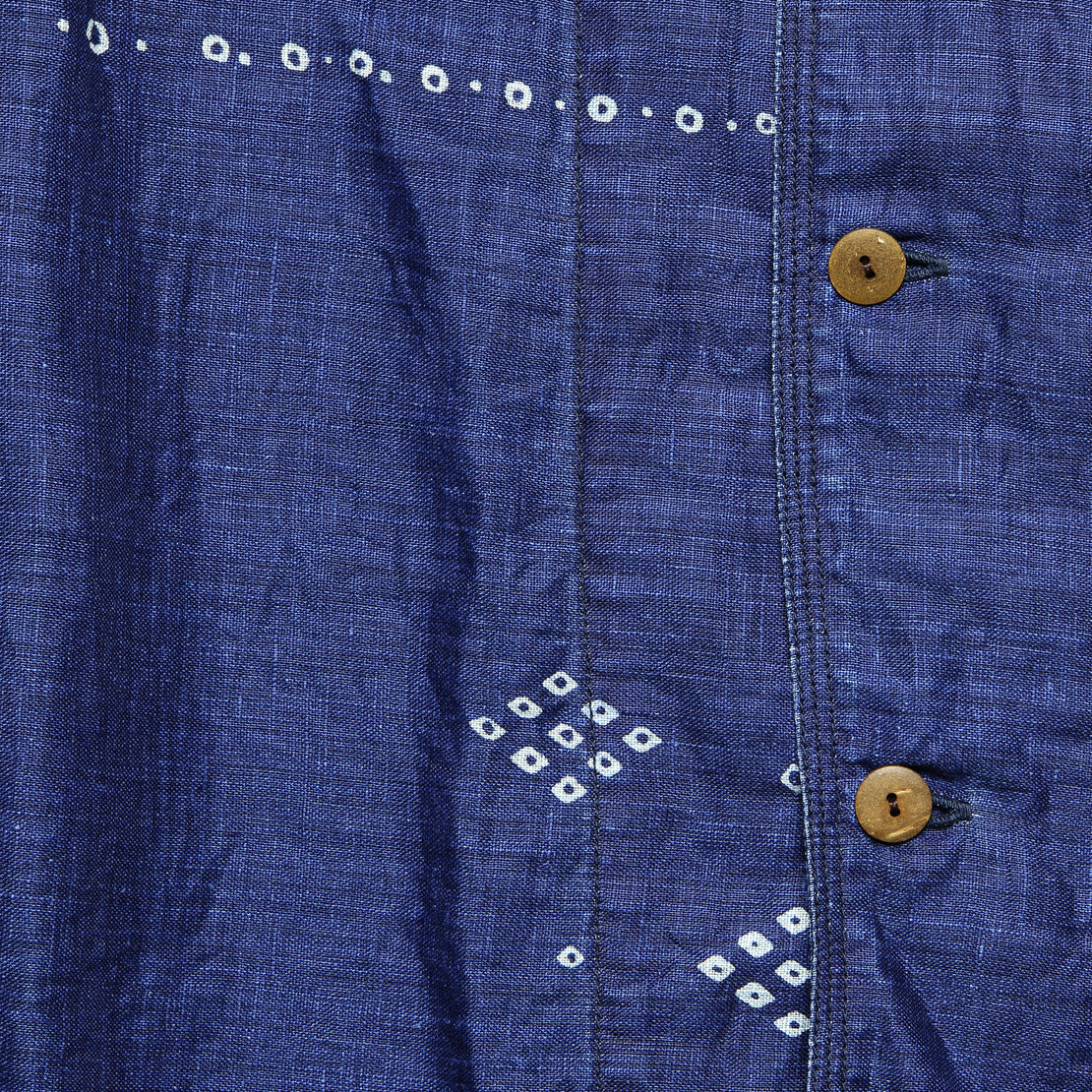 French Linen Aloha Shirt - Indigo