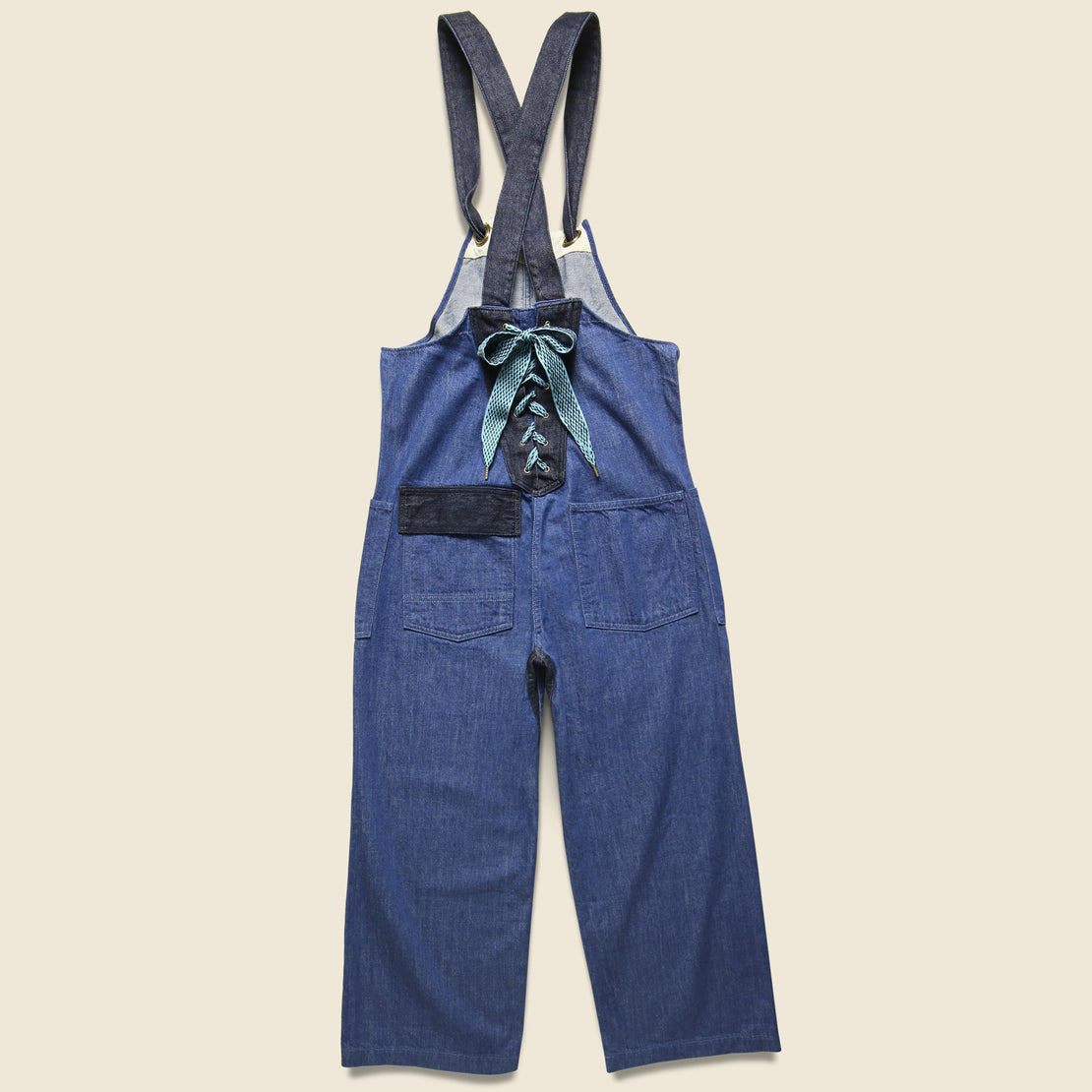Lace-up Lobster Man Salopette Overall - 11.5oz Indigo