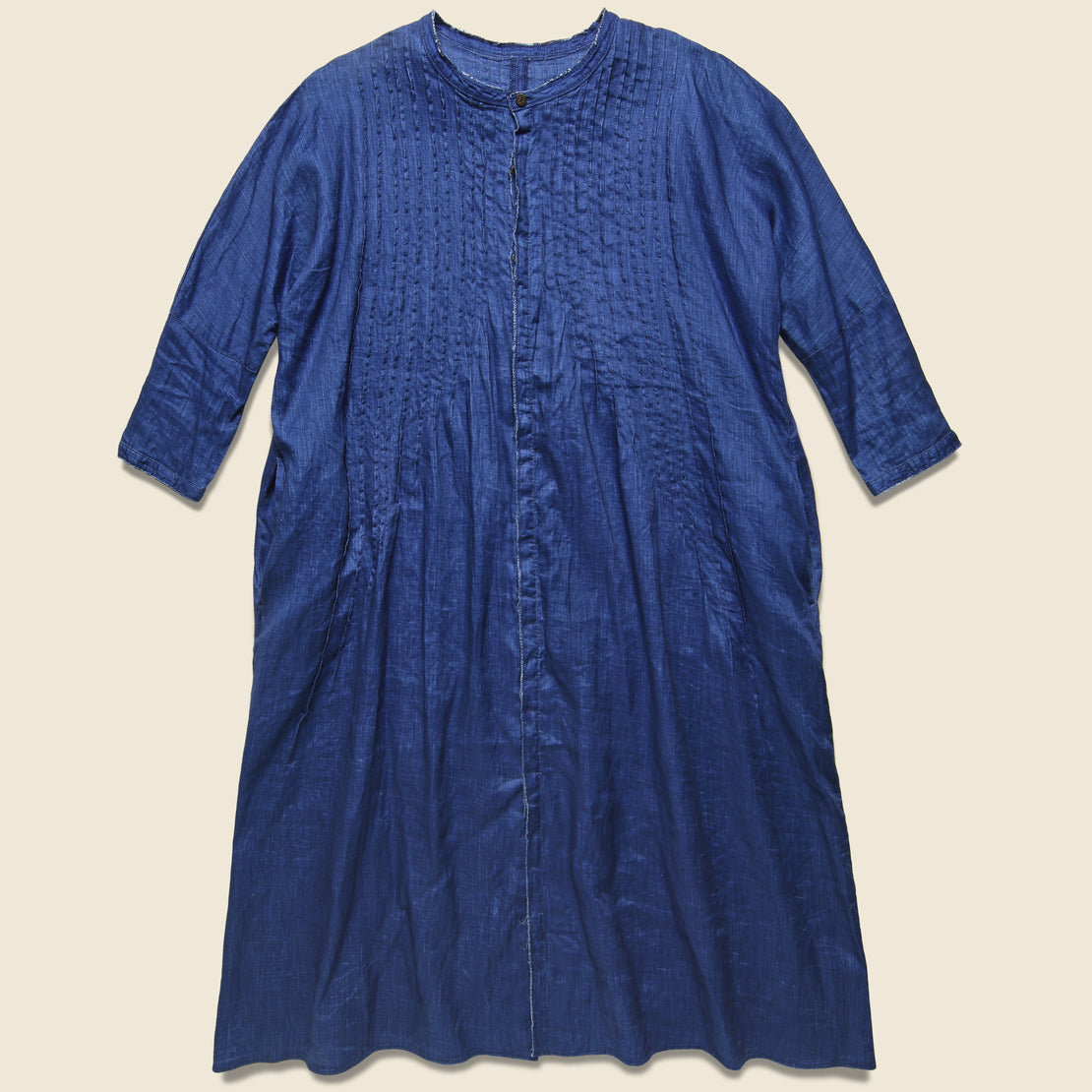 Kapital French Cloth Linen Pintuck O'Keefe Dress - Indigo