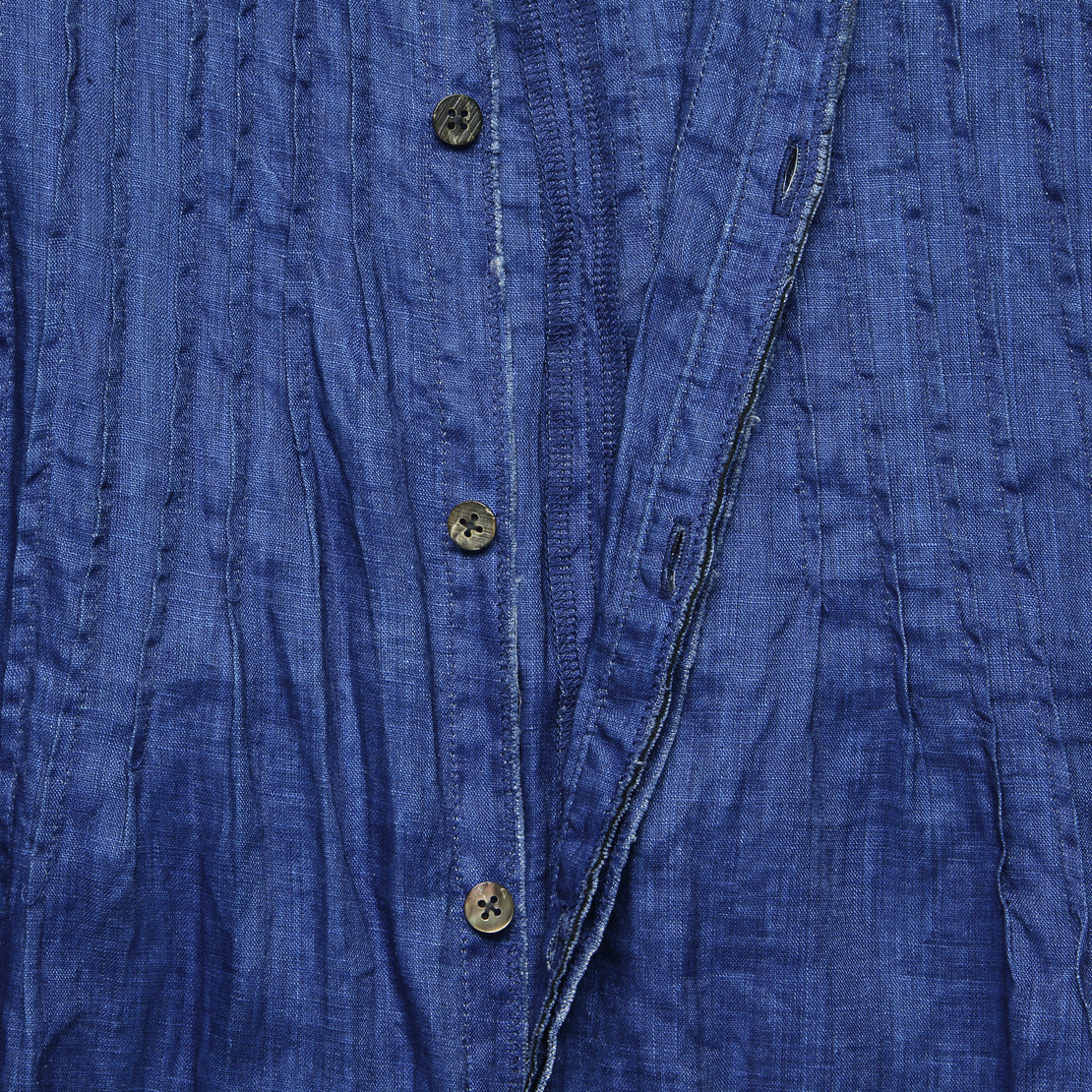 French Cloth Linen Pintuck O'Keefe Dress - Indigo