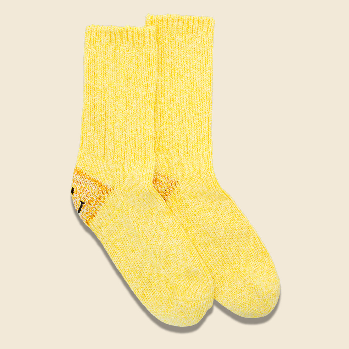 56 Yarns Rib Heel Smile Socks - Yellow