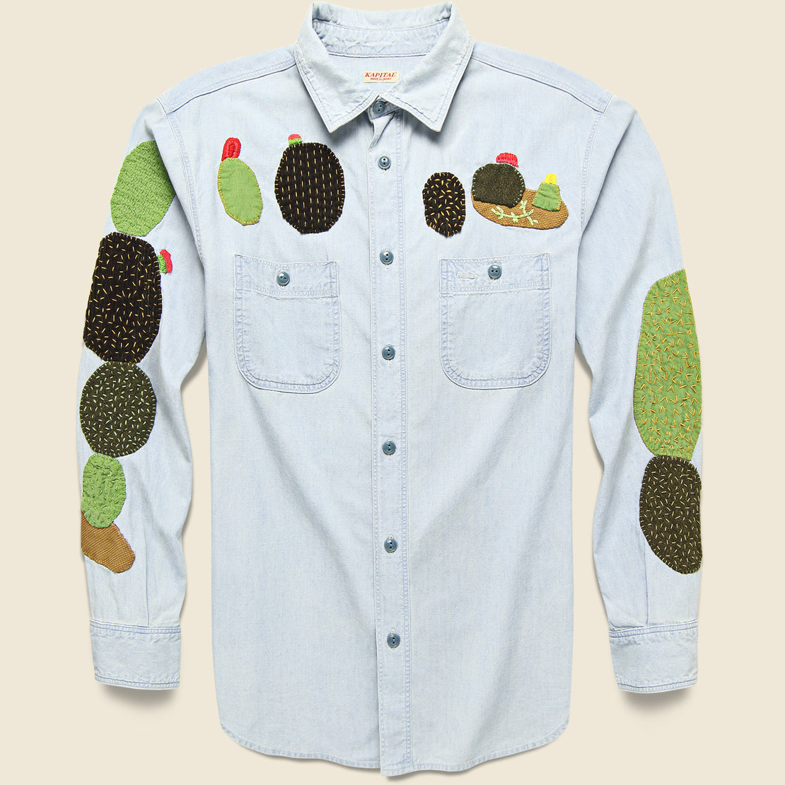 Kapital Chambray Work Shirt with Cactus Embroidery - Indigo