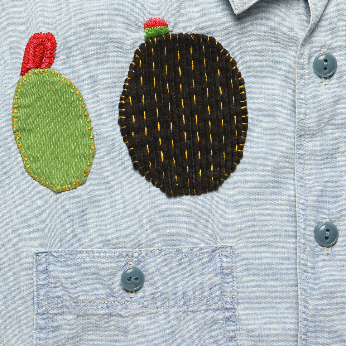 Chambray Work Shirt with Cactus Embroidery - Indigo