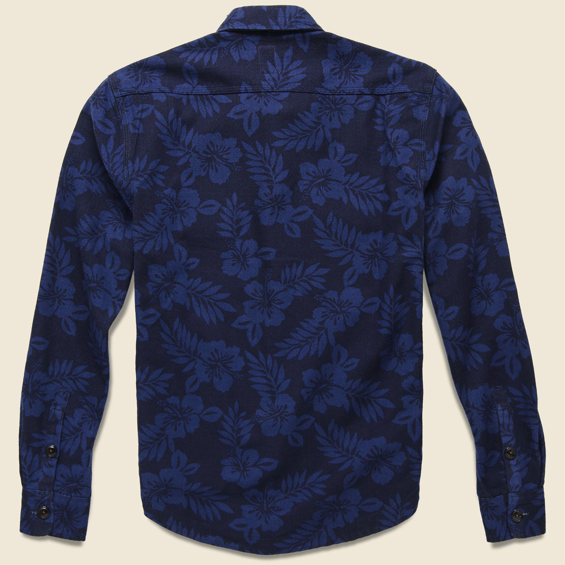 Aloha Print Shirt Jacket - Navy