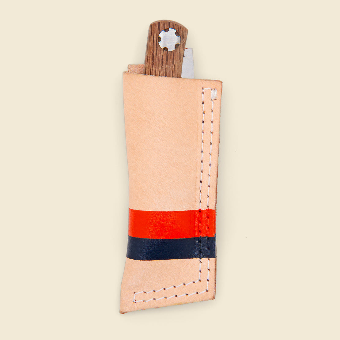 Son of a Sailor Leather Sheath with Joker Knife - Navy/Orange Painted