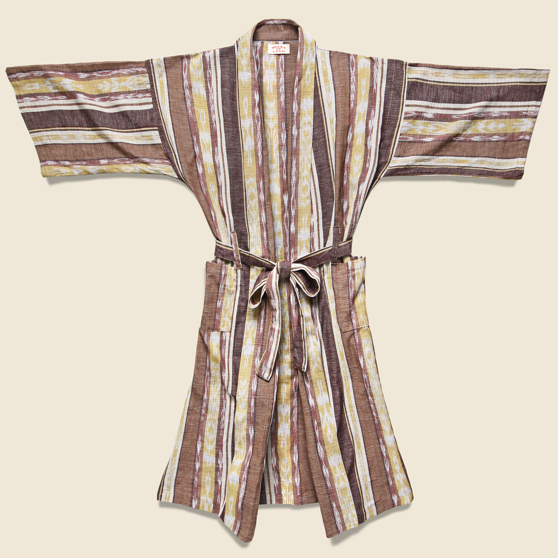 House of LAND Guatemalan Robe - Brown/Yellow/Cream