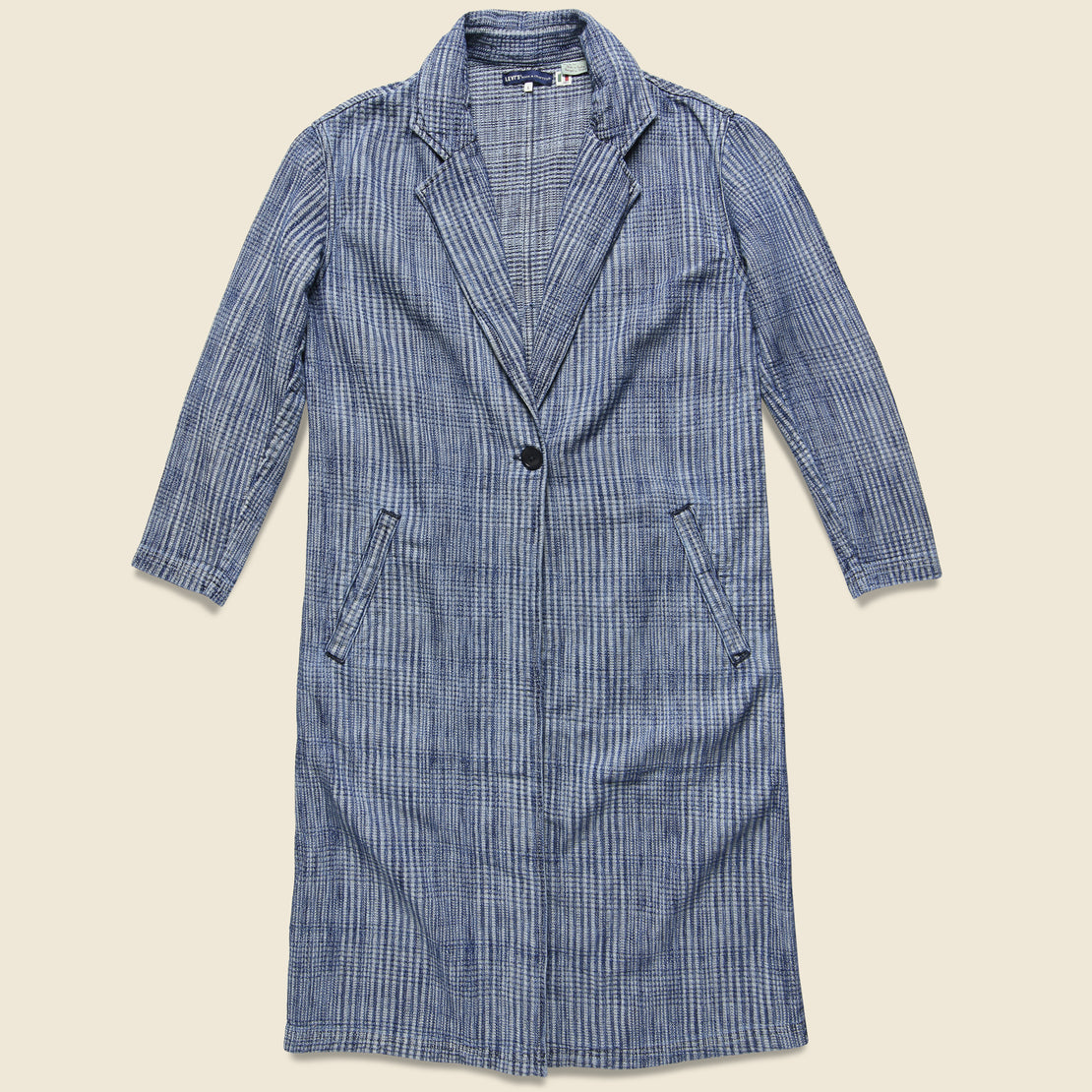 Levis Made & Crafted The Boss Long Coat - Indigo Plaid