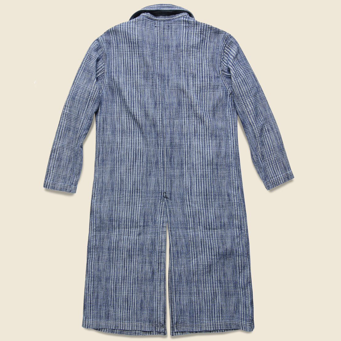 The Boss Long Coat - Indigo Plaid