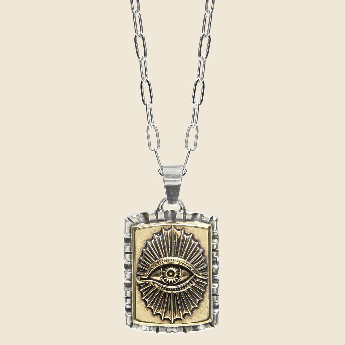 LHN Jewelry All Seeing Eye Souvenir Necklace - Silver/Brass