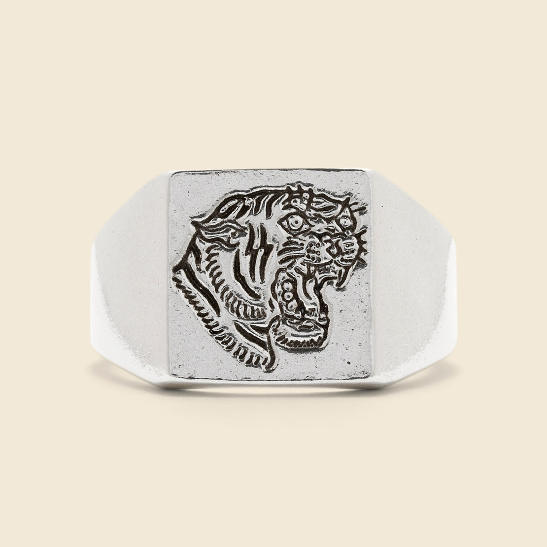 LHN Jewelry Tiger Signet Ring - Sterling Silver