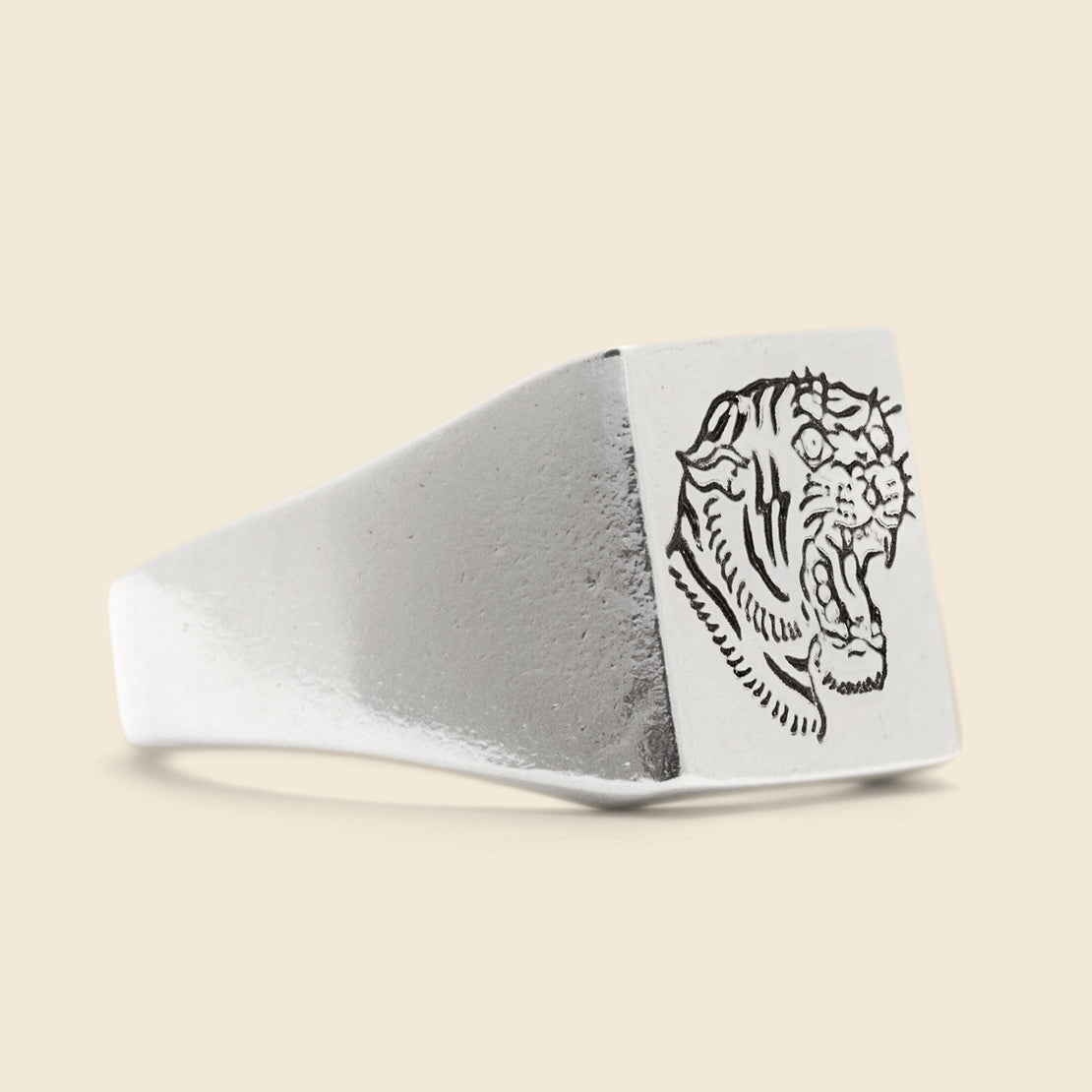 Tiger Signet Ring - Sterling Silver