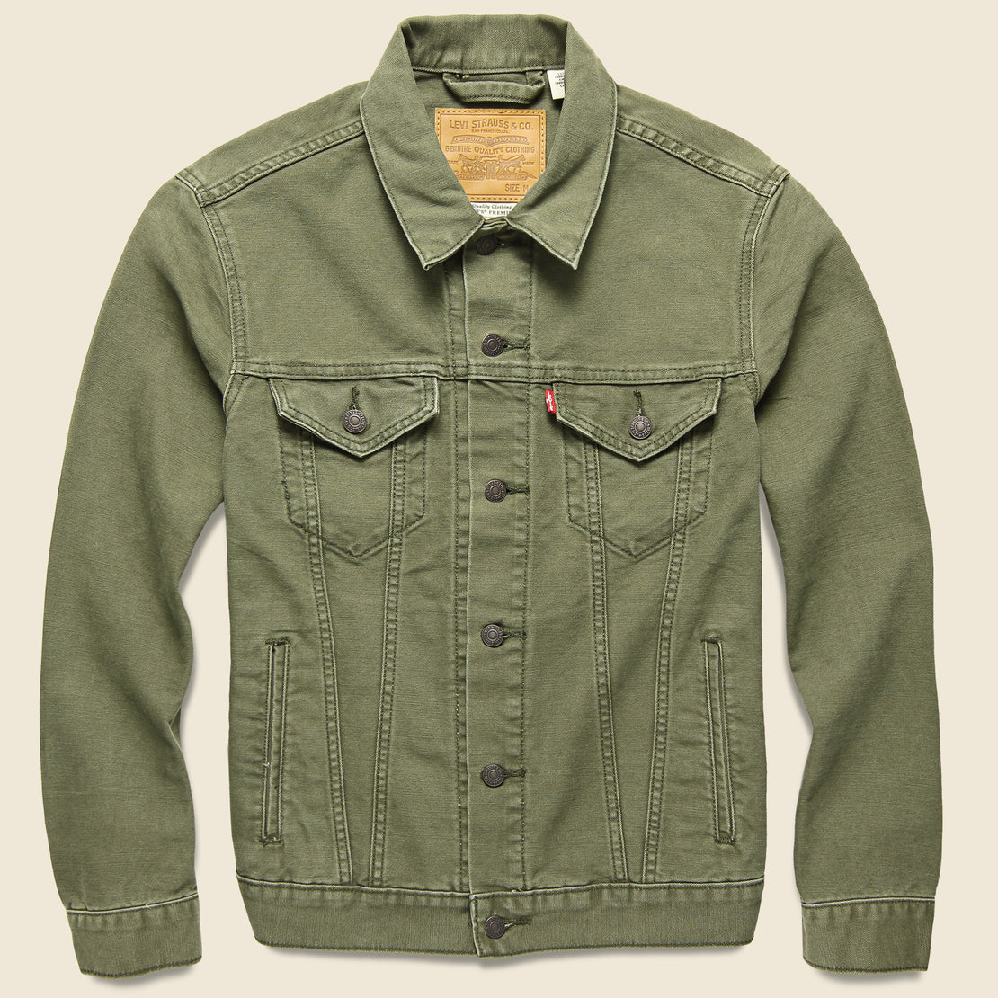 Levis Premium Canvas Trucker Jacket - Olive Night
