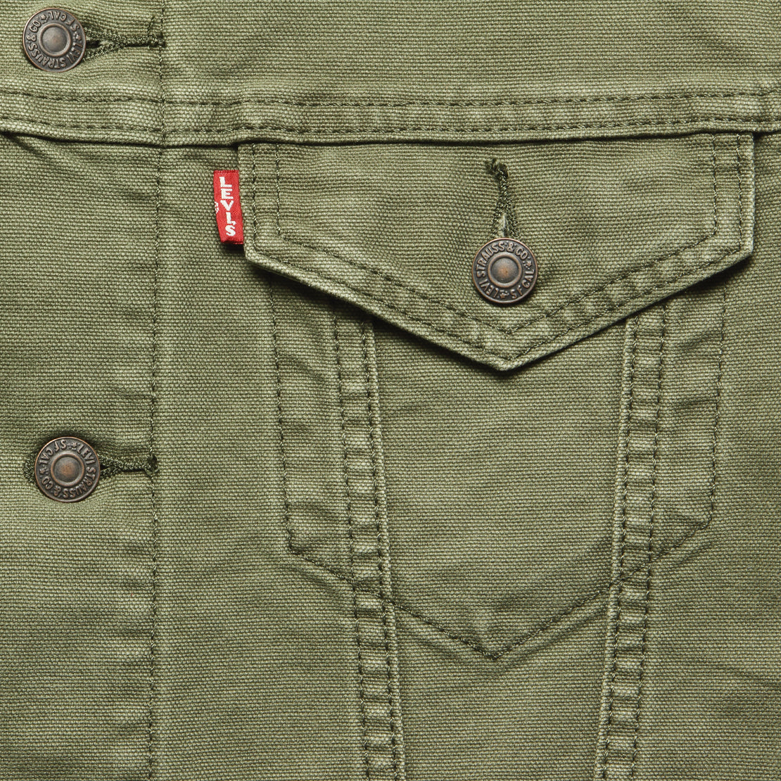 Canvas Trucker Jacket - Olive Night